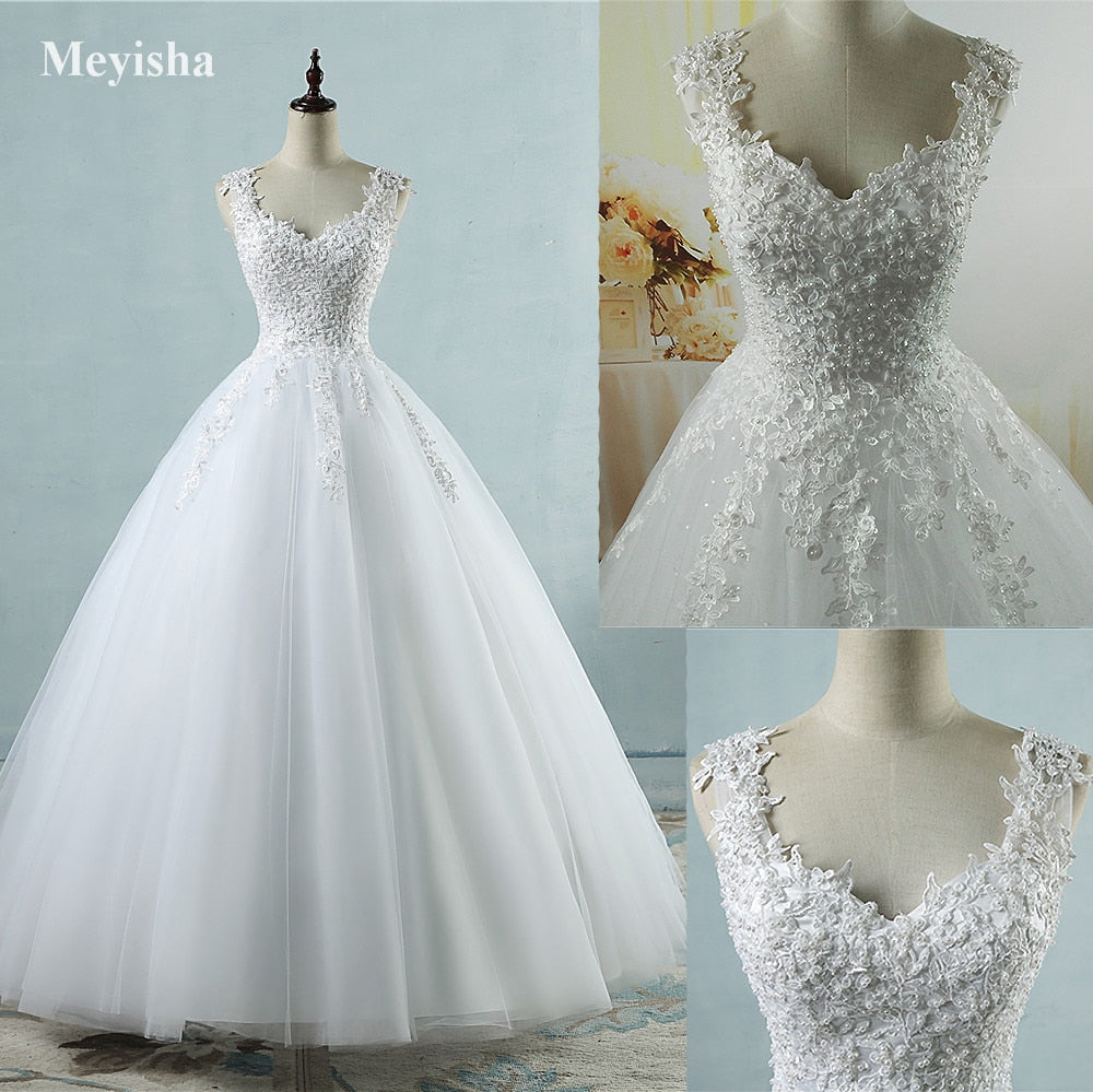 ZJ9076 Ball Gowns Spaghetti Straps White Ivory Tulle Wedding Dresses 2018 with Pearls Bridal Dress Marriage Customer Made Size