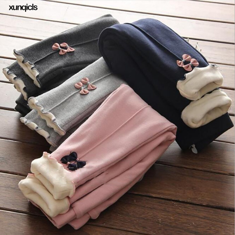 1-8Y New Girls Warm Pants Winter Children Thicken Outwear Pants Cotton Bow Kids Fleece Trousers Baby Casual Trousers