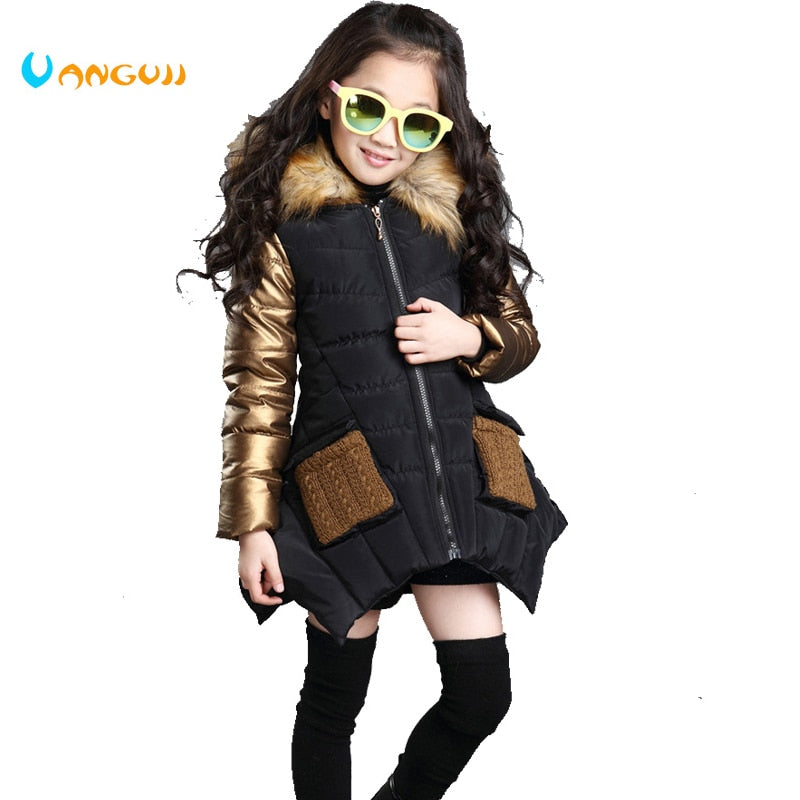 4-13 years old girls winter coat children's down jacket hooded Fur collar stitching kids Outerwear thick warm parkas fashion