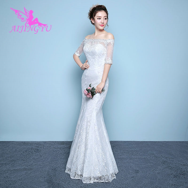 AIJINGYU 2018 flower free shipping new hot selling cheap ball gown lace up back formal bride dresses wedding dress WK355