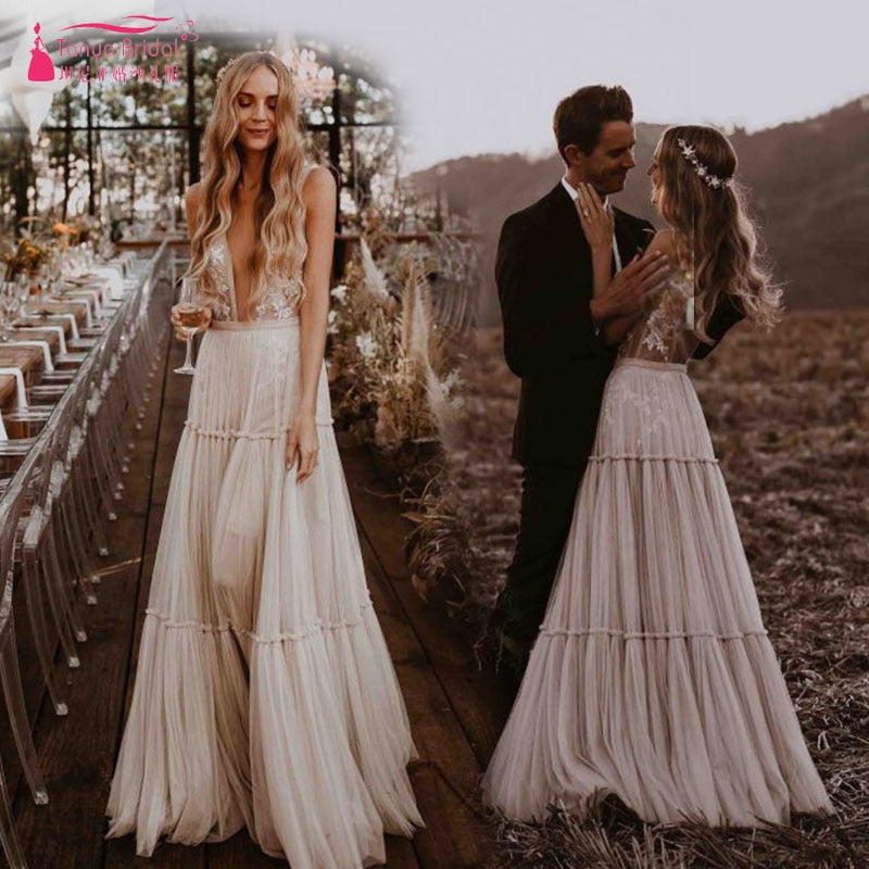 Nude Champagne Wedding Dresses 2019 Deep V-Neck Whimsical Boho Dreamy Bridal Gowns Sexy Beach Vestido De Noiva ZW111