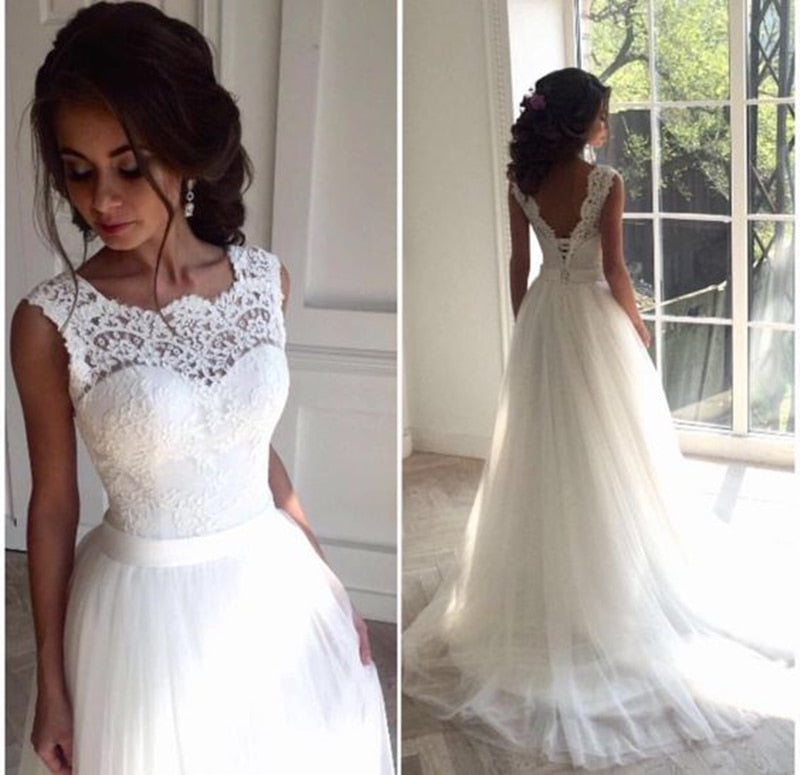 Solovedress A Line Lace Beach Wedding Dress 2018 Scoop Neck White Bridal Gown Tulle Skirt Chapel Train vestido de noiva SLD-228