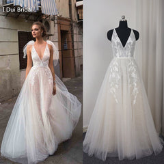 V Neck Beach Wedding Dress Real Price Lace Appliqued Illusion Bare Back Bridal Gown 2018 New