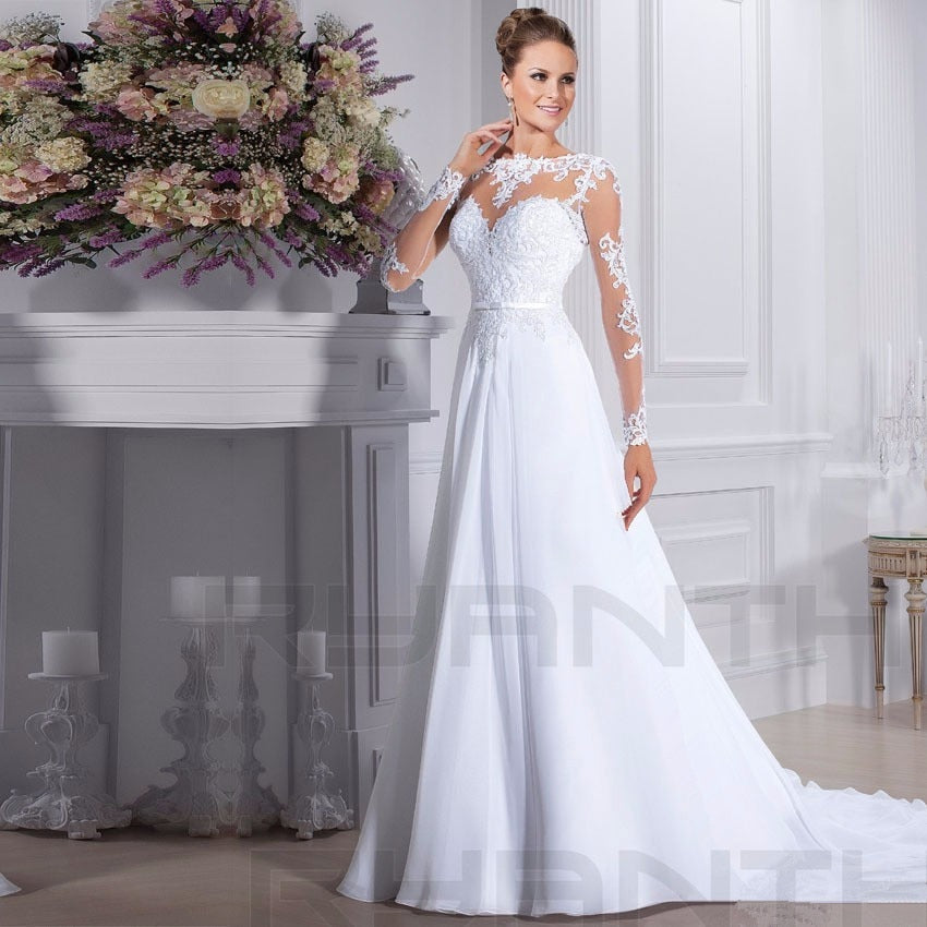 Vestido de Noiva 2019 Cheap Long Sleeve Lace Chiffon Wedding Dress Custom Made See Through Back Wedding Gowns Robe de mariee
