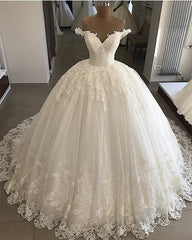 2018 Vintage Lace Wedding Dresses Plus Size Appliques Dubai Elegant Bridal Gowns Lace Up Puffy Ball Gowns Vestido De Novia