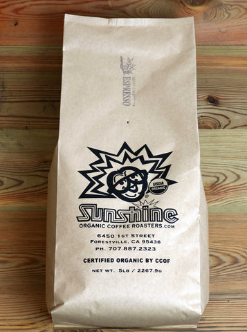 5lb Sunshine Organic Coffee Roasters Espresso Whole Bean