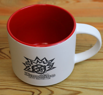 16oz Sunshine Organic Coffee Roasters Stackable Red and White Mug