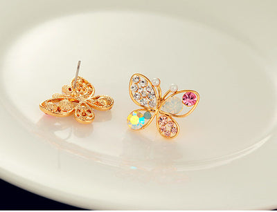 Korean Luxury Shiny Colorful Crystal Simulated Pearl Butterfly Stud Earrings
