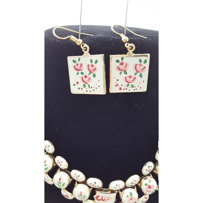 Vintage 60s Pink White Gold Enameled Flower necklace choker and Earrings Set