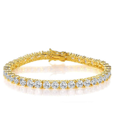 White Gold Plated Cubic Zirconia Classic Tennis Bracelet - 4.0mm Gold Plated 7.5 inch