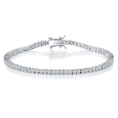 White Gold Plated Cubic Zirconia Classic Tennis Bracelet - 2.0mm Rhodium Plated 7.5 inch