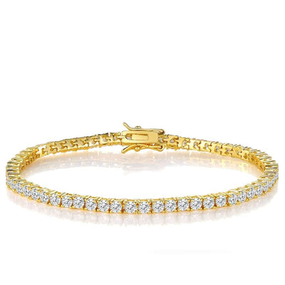 White Gold Plated Cubic Zirconia Classic Tennis Bracelet - 3.0mm Gold Plated 7.5 bracelet