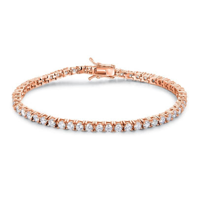 White Gold Plated Cubic Zirconia Classic Tennis Bracelet - 3.0mm Rose Plated 7.5 Bracelet