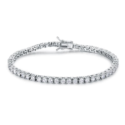 White Gold Plated Cubic Zirconia Classic Tennis Bracelet - 3.0mm Rhodium Plated 7.5Bracelet