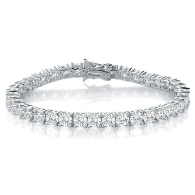 White Gold Plated Cubic Zirconia Classic Tennis Bracelet - 4.0mm Rhodium Plated 7.5 inch