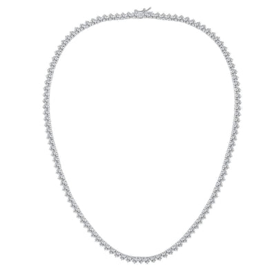White Gold Plated Cubic Zirconia Classic Tennis Bracelet - Rhodium Plated 18 Necklace