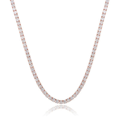 White Gold Plated Cubic Zirconia Classic Tennis Bracelet - 4.0mm Rose Gold Plated 18 Necklace