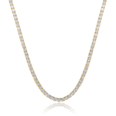 White Gold Plated Cubic Zirconia Classic Tennis Bracelet - 4.0mm Gold Plated 18 Necklace