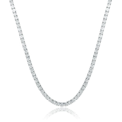 White Gold Plated Cubic Zirconia Classic Tennis Bracelet - 4.0mm White Gold Plated 18 Necklace