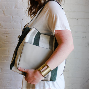 Striped Green and White Handbag