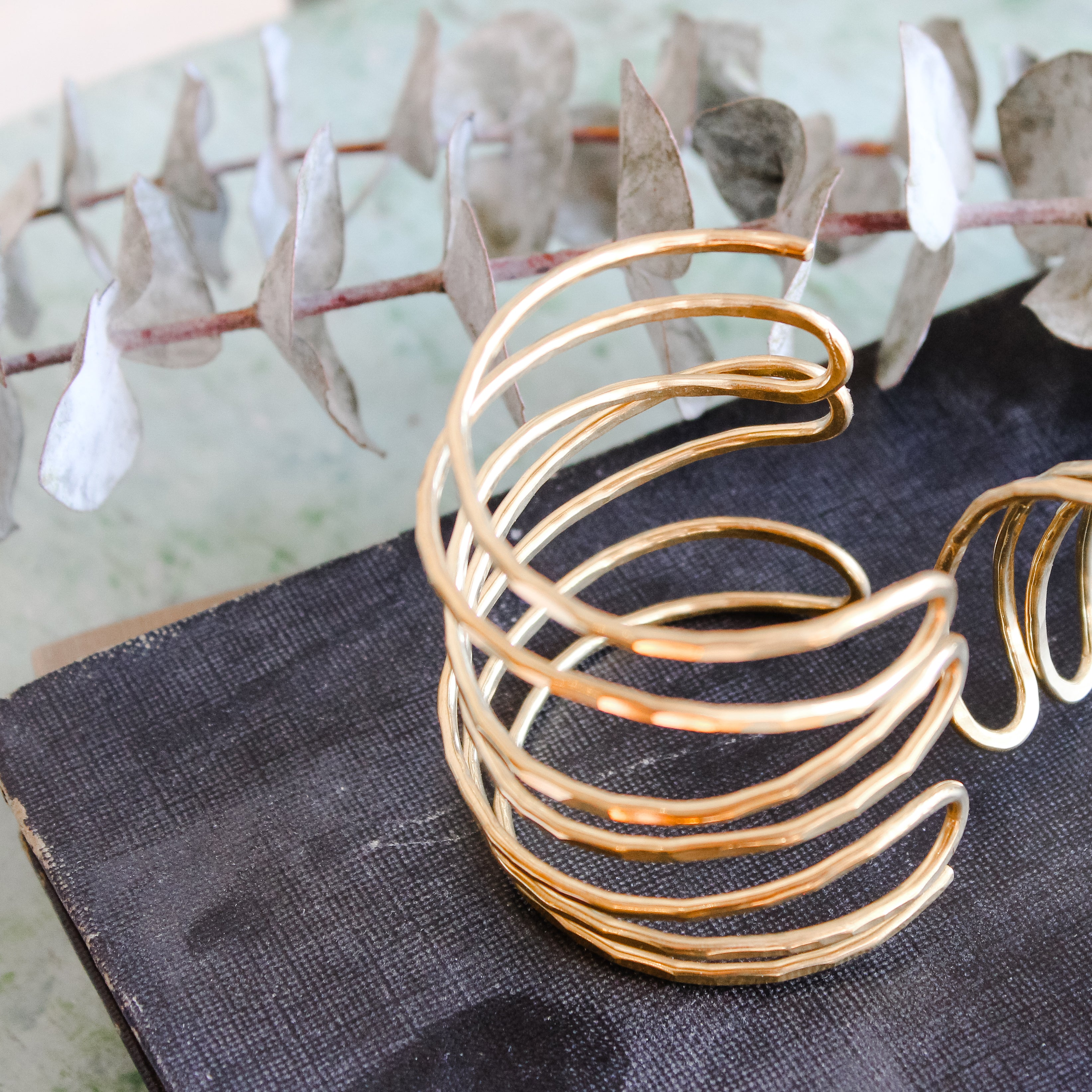 Gold Multi Bracelet Stacked Cuff