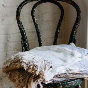 fringed cotton woven throw