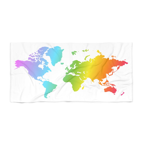 Rainbow World Map Vibrant Rainbow Beach Towel