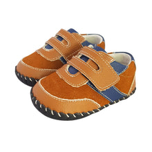 Load image into Gallery viewer, 2FeetTall | Brown and blue leather and suede baby shoes