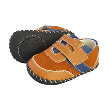 Load image into Gallery viewer, 2FeetTall | Brown and blue leather and suede baby shoes side on