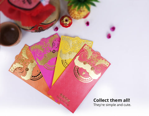 vibrant colourful lion angpau packet