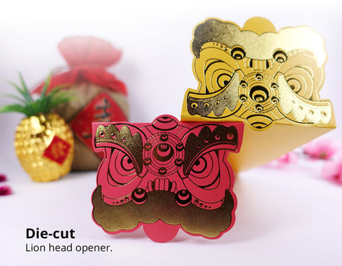 unique die-cutting on lion head angpau packet