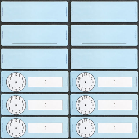 6 Classroom Clock Magnets & 6 Blank Classroom Magnets