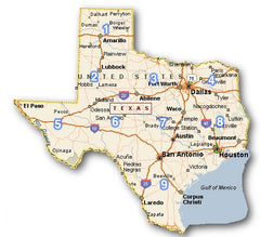 Map of Taos Bee locations in Texas
