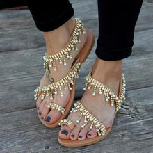 Load image into Gallery viewer, Women Bohemian Style Sandals Casual Beach Pearls Shoes