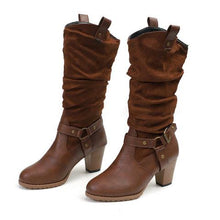Load image into Gallery viewer, Wide Calf Women Vintage Chunky Heel Casual Boots Round Toe Slip On