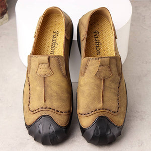 Men Leather Hand Stitching Slip On Soft Outdoor Casual Shoes