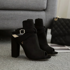 Faux Leather Buckle Ankle Boots Stylish Peep Toe Calf High Cutout Booties