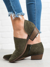 Load image into Gallery viewer, Hollow-out Low Heel Cutout Booties Faux Suede Zipper Ankle Boots
