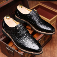 Load image into Gallery viewer, Men Alligator Pattern Pointed Formal Business Lace Up Shoes