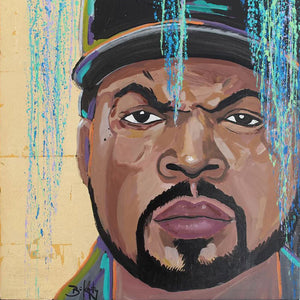 Cube - Original Painting of Ice Cube by John Bukaty