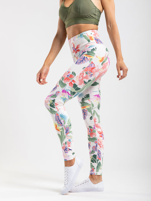Colorful botanical print leggings with a high rise and interior pocket.