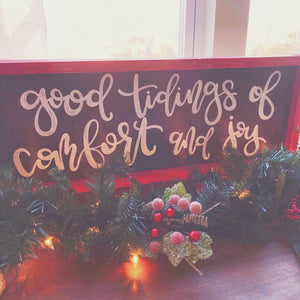 Good Tidings Framed Wood Sign
