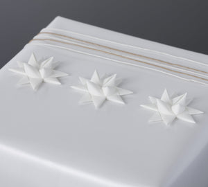 White half star with tape S - 12 pcs