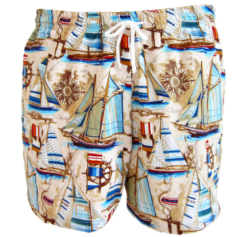 Vintage Sailboat Swim Trunks