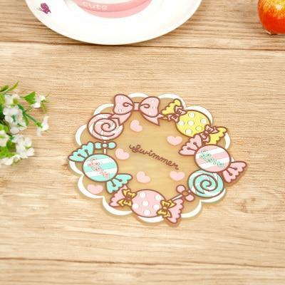 Kawaii meow Style 2 Kawaii Cartoon Animals Unicorn Tableware Cup Pads Mats.Silicone Table Placemats Kitchen Dinnerware Mat.Coasters.Insulation Pad