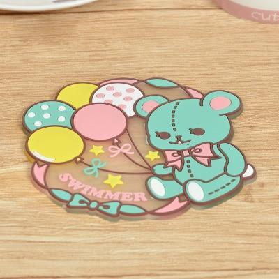 Kawaii meow Style 6 Kawaii Cartoon Animals Unicorn Tableware Cup Pads Mats.Silicone Table Placemats Kitchen Dinnerware Mat.Coasters.Insulation Pad