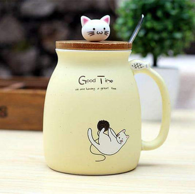 Kawaii meow Yellow Cat-Themed Sugar Bowl with Lid