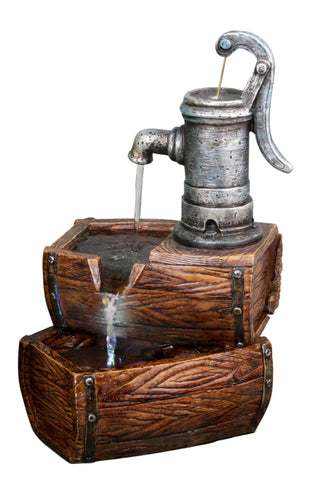 2-Tier Water Pump Barrel Tabletop Fountain