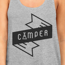 Load image into Gallery viewer, Camper Womens Grey Cotton Tank Top Summer Camping Must Item For Him