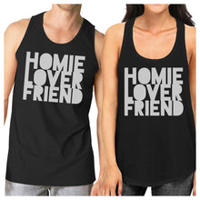 Load image into Gallery viewer, Homie Lover Friend Matching Couple Black Tank Tops